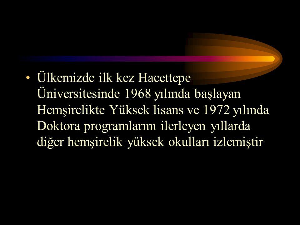 Ülkemizde ilk kez Hacettepe Üniversitesinde 1968 yılında başlayan Hemşirelikte Yüksek lisans ve 1972 yılında Doktora programlarını ilerleyen yıllarda