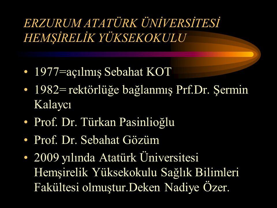 ERZURUM ATATÜRK ÜNİVERSİTESİ HEMŞİRELİK YÜKSEKOKULU 1977=açılmış Sebahat KOT 1982= rektörlüğe bağlanmış Prf.Dr. Şermin Kalaycı Prof. Dr. Türkan Pasinl
