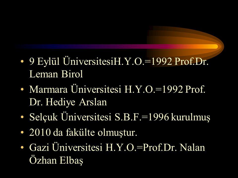 9 Eylül ÜniversitesiH.Y.O.=1992 Prof.Dr. Leman Birol Marmara Üniversitesi H.Y.O.=1992 Prof. Dr. Hediye Arslan Selçuk Üniversitesi S.B.F.=1996 kurulmuş