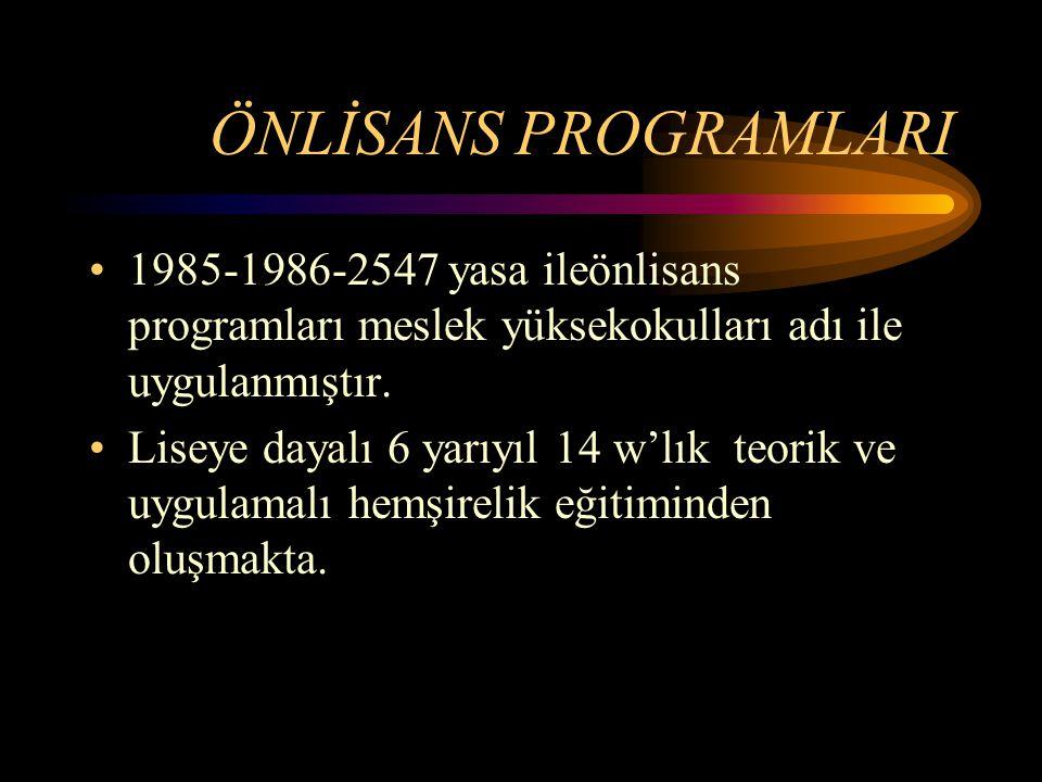 ÖNLİSANS PROGRAMLARI 1985-1986-2547 yasa ileönlisans programları meslek yüksekokulları adı ile uygulanmıştır. Liseye dayalı 6 yarıyıl 14 w'lık teorik
