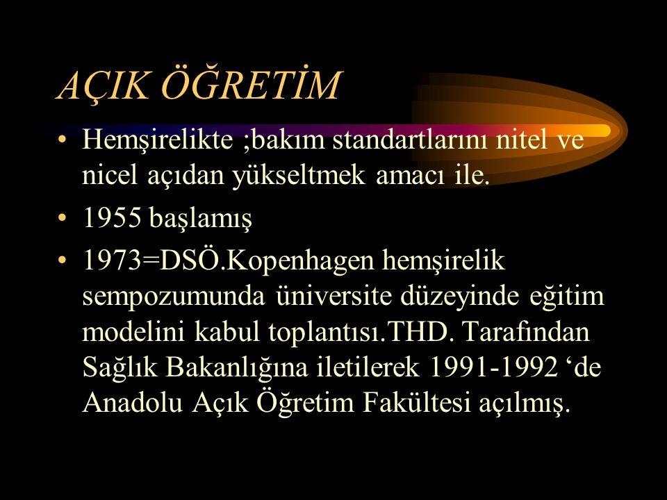 AÇIK ÖĞRETİM Hemşirelikte ;bakım standartlarını nitel ve nicel açıdan yükseltmek amacı ile. 1955 başlamış 1973=DSÖ.Kopenhagen hemşirelik sempozumunda