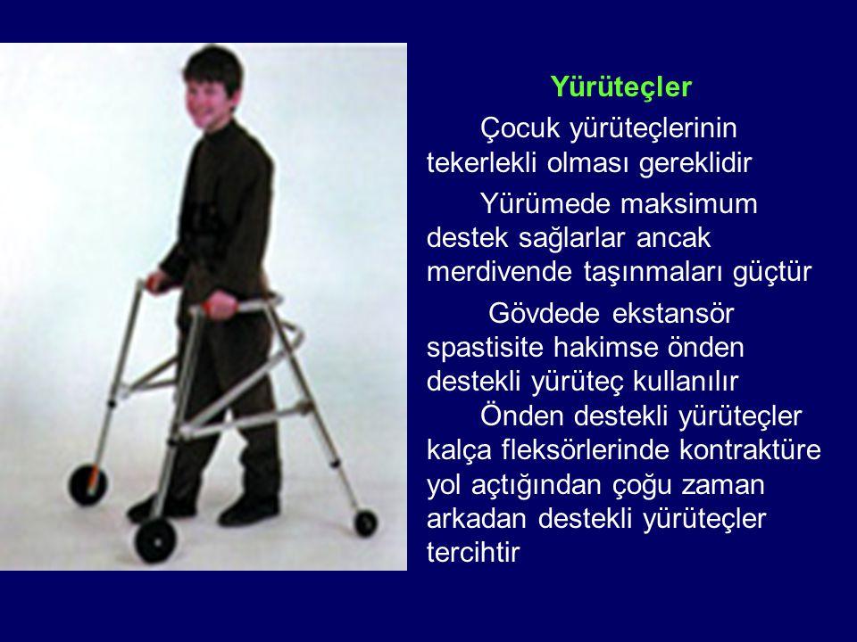 Yürüteçler Çocuk yürüteçlerinin tekerlekli olması gereklidir Yürümede maksimum destek sağlarlar ancak merdivende taşınmaları güçtür Gövdede ekstansör