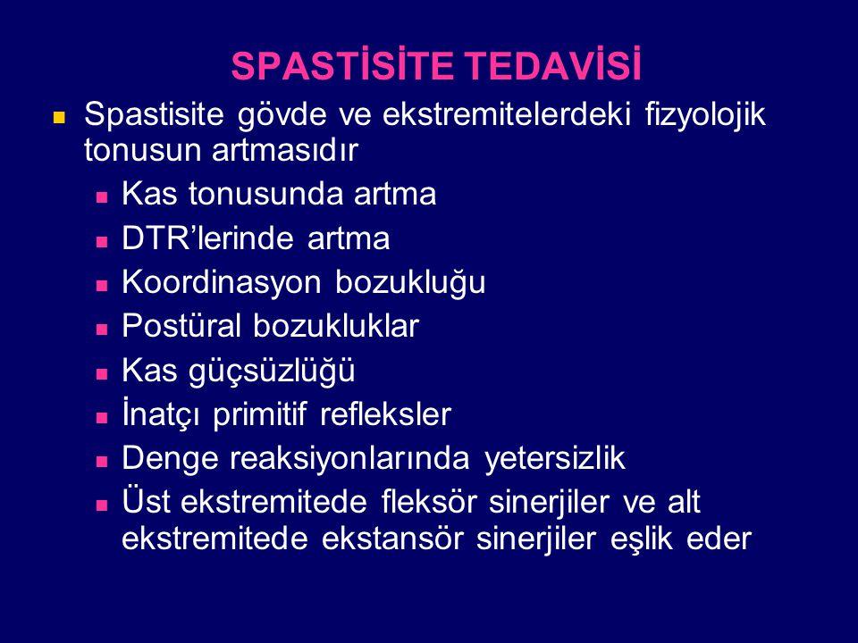 SPASTİSİTE TEDAVİSİ Spastisite gövde ve ekstremitelerdeki fizyolojik tonusun artmasıdır Kas tonusunda artma DTR'lerinde artma Koordinasyon bozukluğu P
