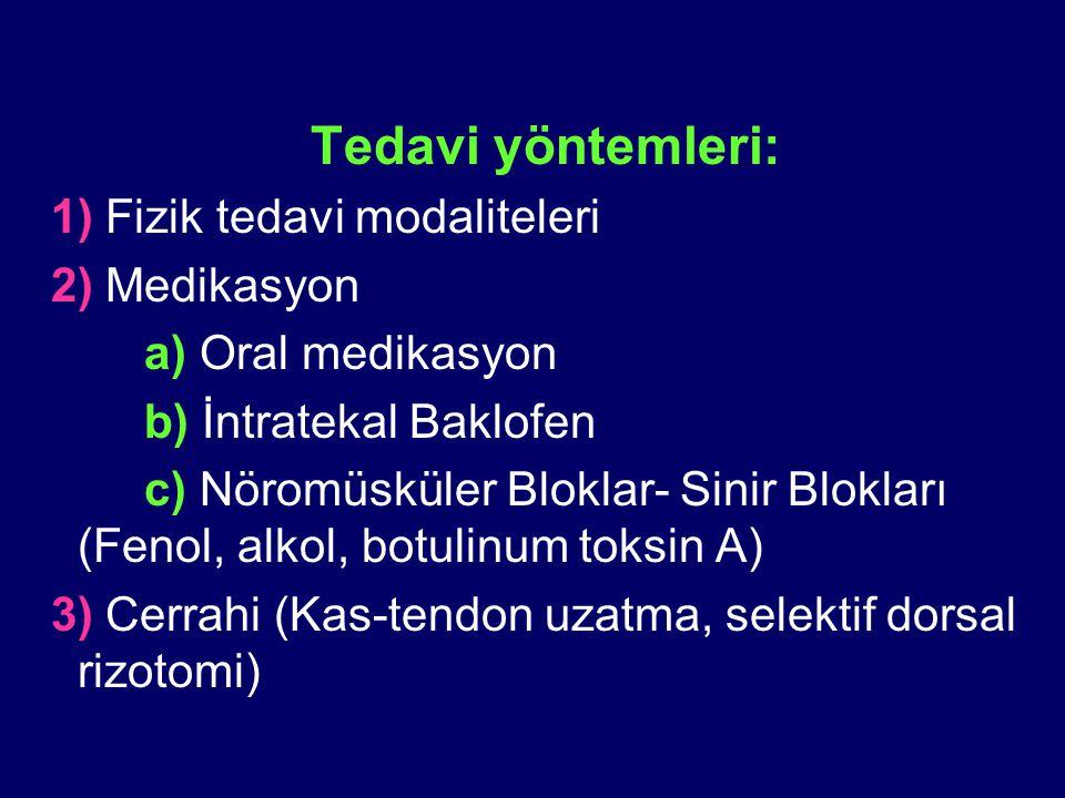 Tedavi yöntemleri: 1) Fizik tedavi modaliteleri 2) Medikasyon a) Oral medikasyon b) İntratekal Baklofen c) Nöromüsküler Bloklar- Sinir Blokları (Fenol