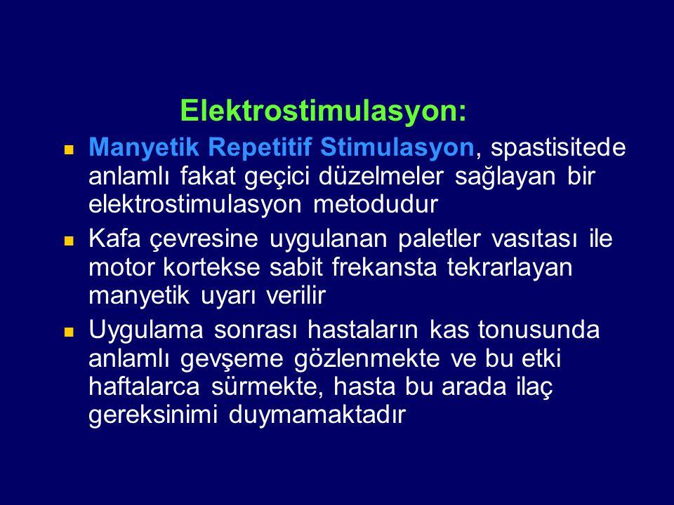 Elektrostimulasyon: Manyetik Repetitif Stimulasyon, spastisitede anlamlı fakat geçici düzelmeler sağlayan bir elektrostimulasyon metodudur Kafa çevres