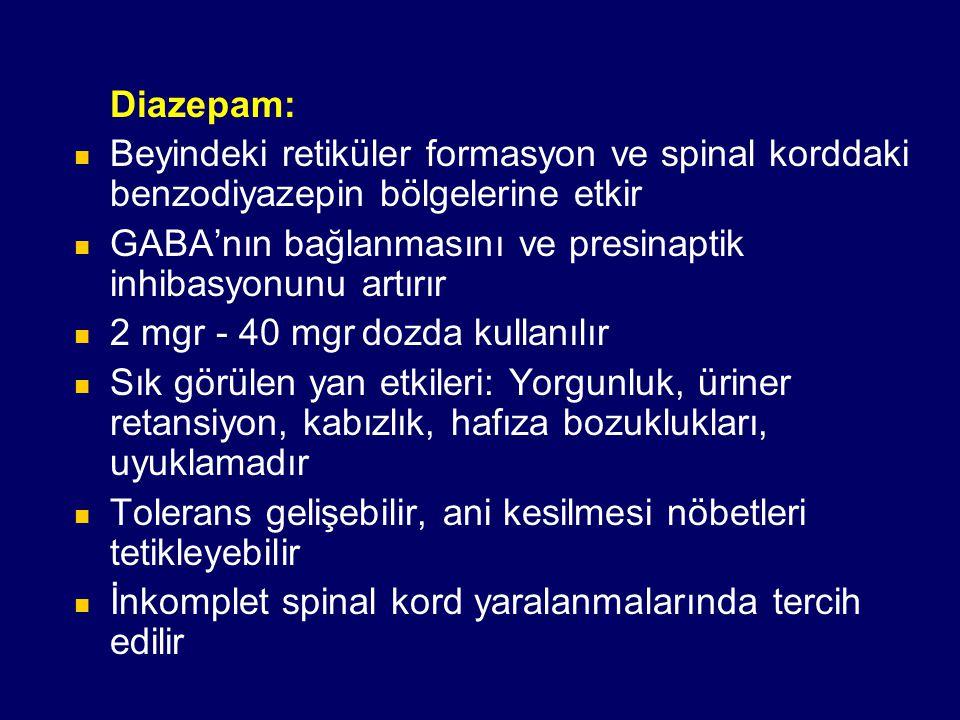 Diazepam: Beyindeki retiküler formasyon ve spinal korddaki benzodiyazepin bölgelerine etkir GABA'nın bağlanmasını ve presinaptik inhibasyonunu artırır