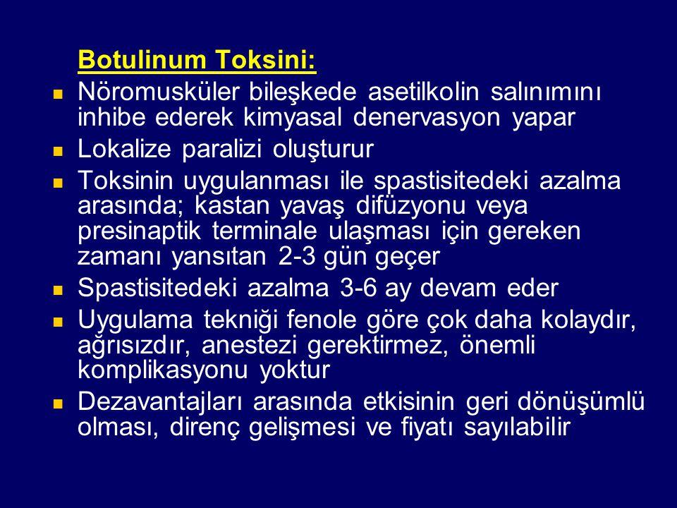Botulinum Toksini: Nöromusküler bileşkede asetilkolin salınımını inhibe ederek kimyasal denervasyon yapar Lokalize paralizi oluşturur Toksinin uygulan