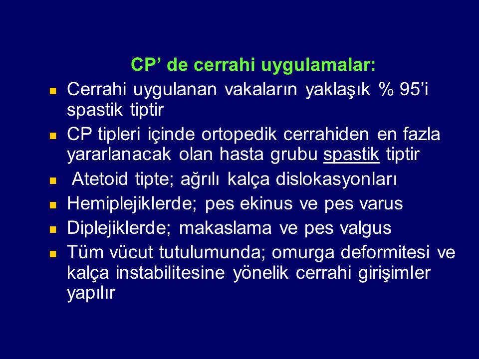 CP' de cerrahi uygulamalar: Cerrahi uygulanan vakaların yaklaşık % 95'i spastik tiptir CP tipleri içinde ortopedik cerrahiden en fazla yararlanacak ol