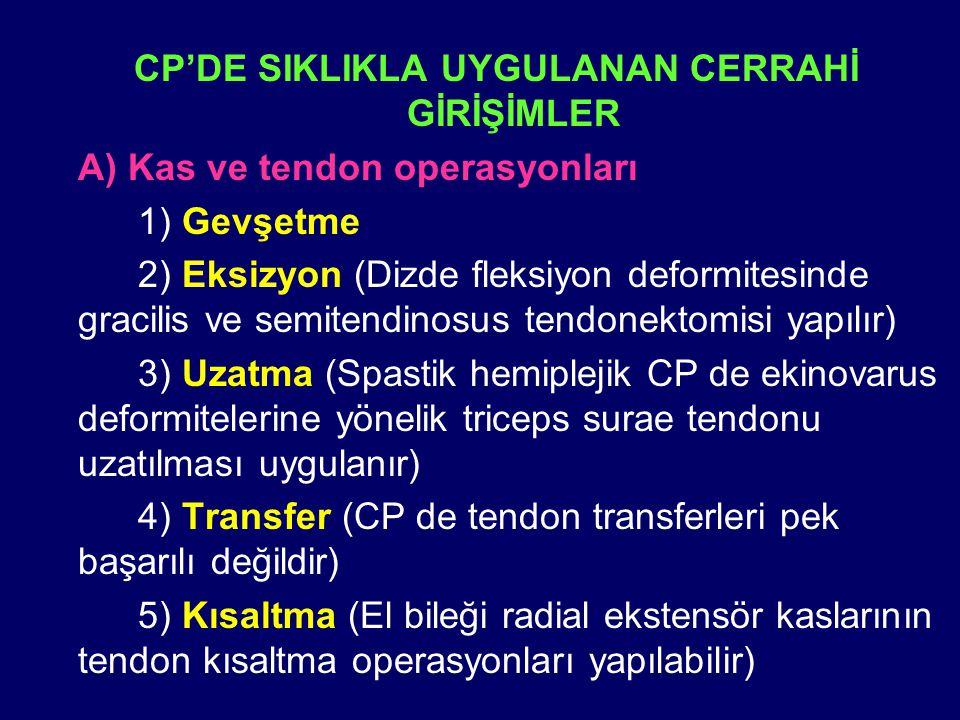 CP'DE SIKLIKLA UYGULANAN CERRAHİ GİRİŞİMLER A) Kas ve tendon operasyonları 1) Gevşetme 2) Eksizyon (Dizde fleksiyon deformitesinde gracilis ve semiten