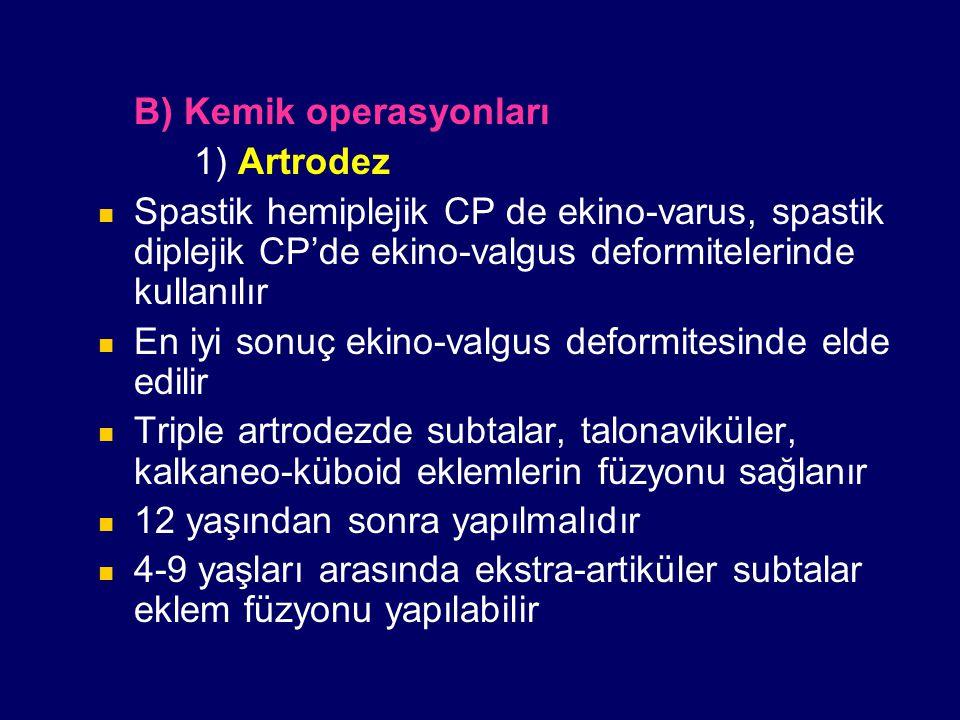 B) Kemik operasyonları 1) Artrodez Spastik hemiplejik CP de ekino-varus, spastik diplejik CP'de ekino-valgus deformitelerinde kullanılır En iyi sonuç