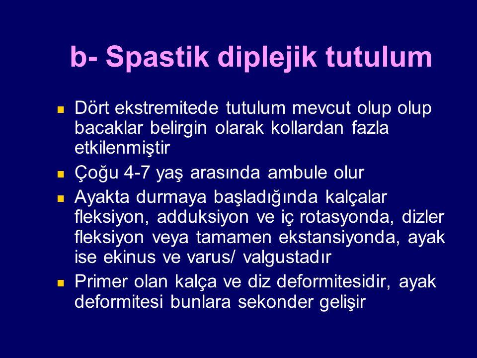 b- Spastik diplejik tutulum Dört ekstremitede tutulum mevcut olup olup bacaklar belirgin olarak kollardan fazla etkilenmiştir Çoğu 4-7 yaş arasında am