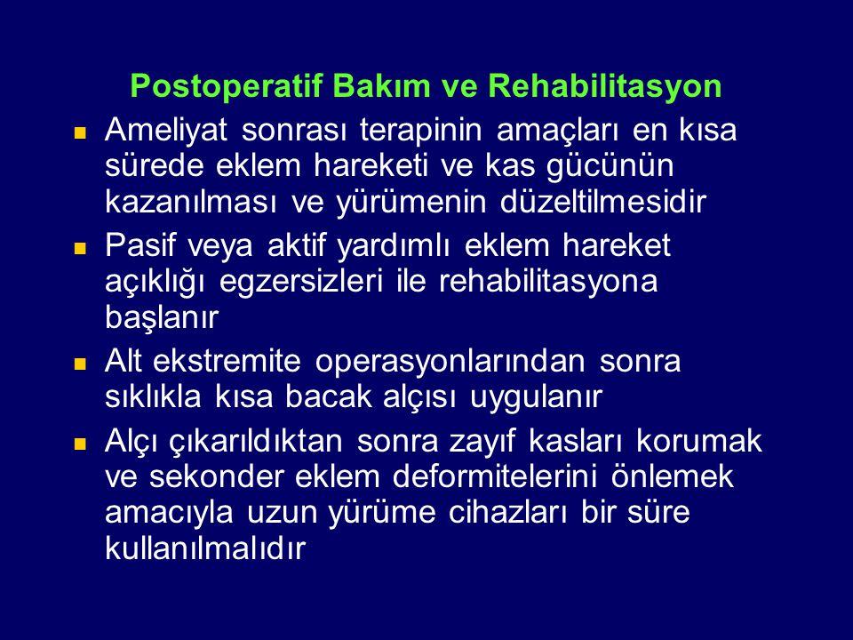 Postoperatif Bakım ve Rehabilitasyon Ameliyat sonrası terapinin amaçları en kısa sürede eklem hareketi ve kas gücünün kazanılması ve yürümenin düzelti