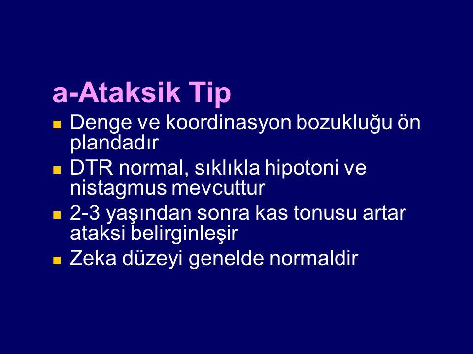 a-Ataksik Tip Denge ve koordinasyon bozukluğu ön plandadır DTR normal, sıklıkla hipotoni ve nistagmus mevcuttur 2-3 yaşından sonra kas tonusu artar at