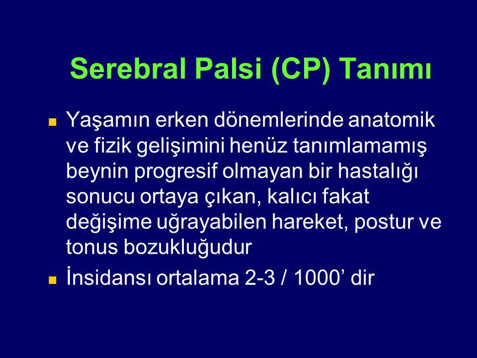 Serebral Palsi (CP) Tanımı Yaşamın erken dönemlerinde anatomik ve fizik gelişimini henüz tanımlamamış beynin progresif olmayan bir hastalığı sonucu or