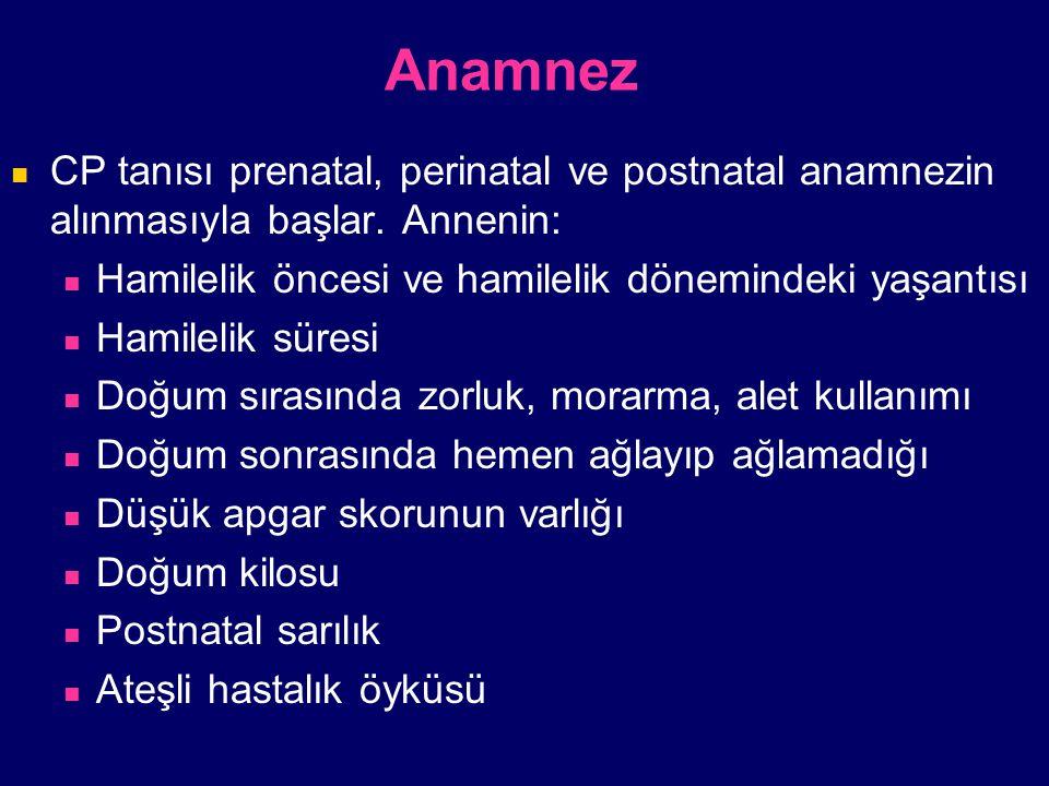 Anamnez CP tanısı prenatal, perinatal ve postnatal anamnezin alınmasıyla başlar. Annenin: Hamilelik öncesi ve hamilelik dönemindeki yaşantısı Hamileli