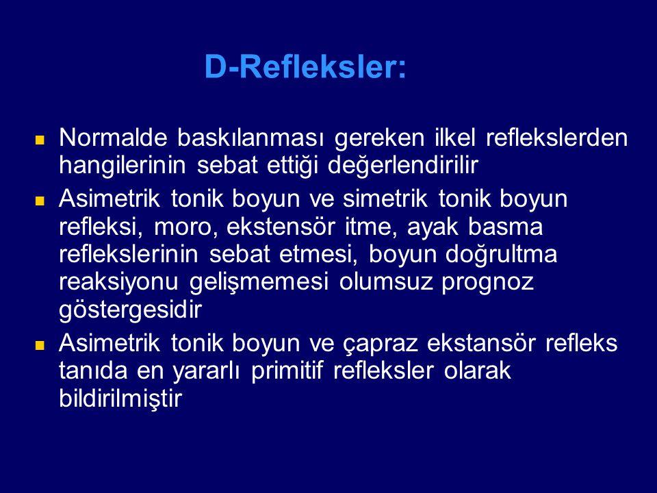 D-Refleksler: Normalde baskılanması gereken ilkel reflekslerden hangilerinin sebat ettiği değerlendirilir Asimetrik tonik boyun ve simetrik tonik boyu