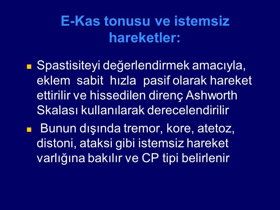 E-Kas tonusu ve istemsiz hareketler: Spastisiteyi değerlendirmek amacıyla, eklem sabit hızla pasif olarak hareket ettirilir ve hissedilen direnç Ashwo