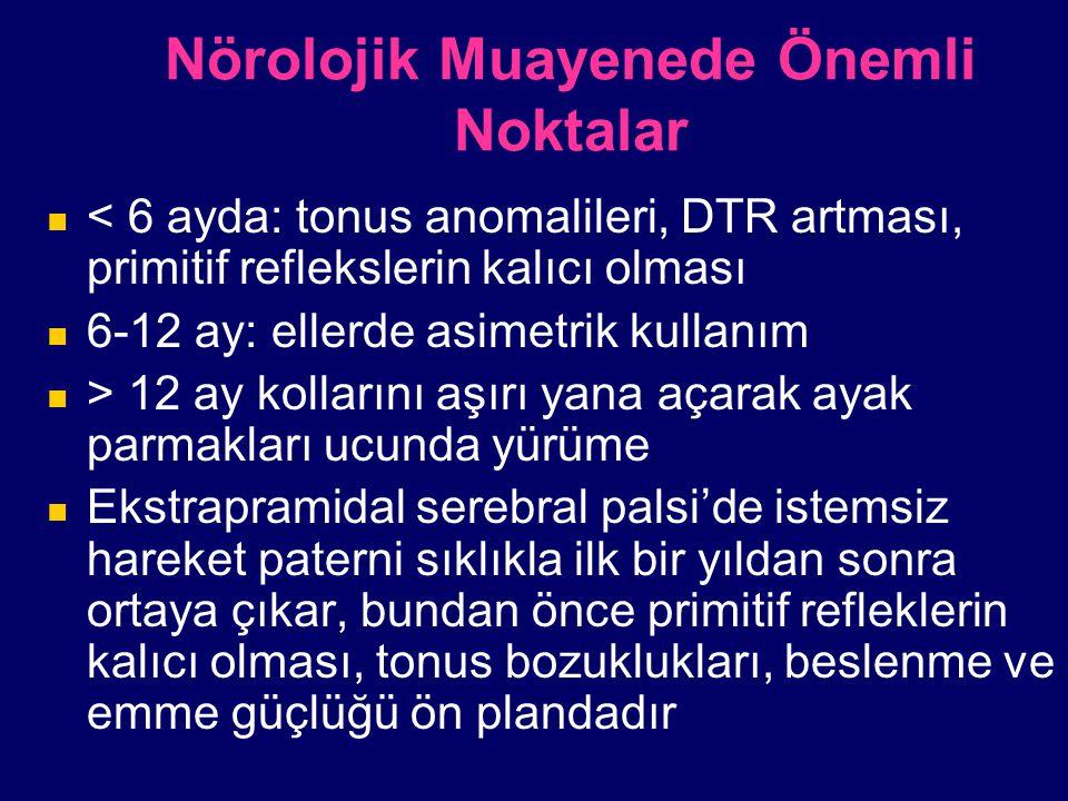 Nörolojik Muayenede Önemli Noktalar < 6 ayda: tonus anomalileri, DTR artması, primitif reflekslerin kalıcı olması 6-12 ay: ellerde asimetrik kullanım