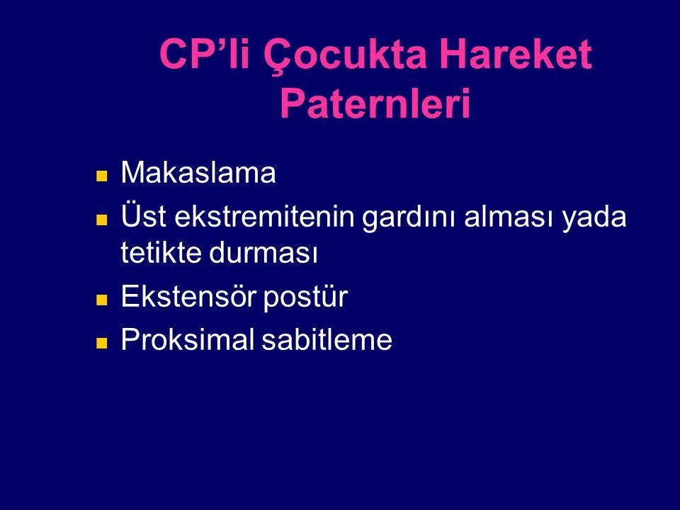 CP'li Çocukta Hareket Paternleri Makaslama Üst ekstremitenin gardını alması yada tetikte durması Ekstensör postür Proksimal sabitleme