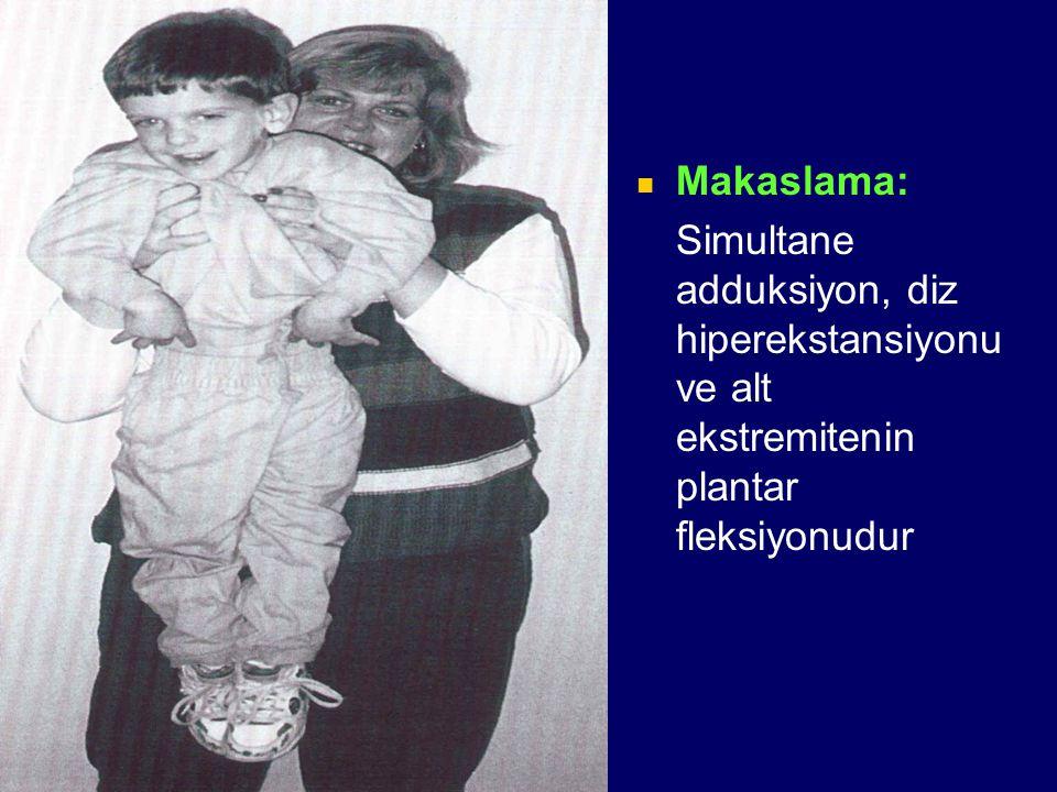 Makaslama: Simultane adduksiyon, diz hiperekstansiyonu ve alt ekstremitenin plantar fleksiyonudur