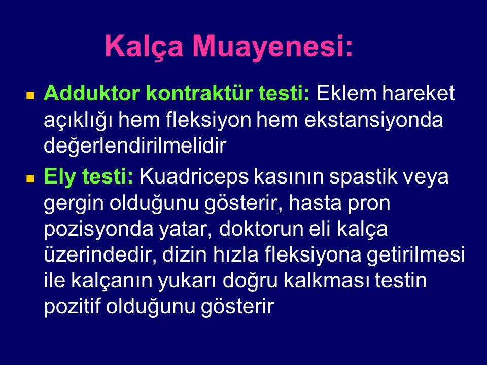 Kalça Muayenesi: Adduktor kontraktür testi: Eklem hareket açıklığı hem fleksiyon hem ekstansiyonda değerlendirilmelidir Ely testi: Kuadriceps kasının