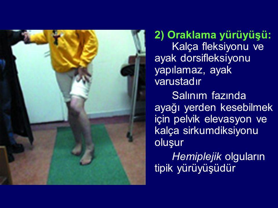 2) Oraklama yürüyüşü: Kalça fleksiyonu ve ayak dorsifleksiyonu yapılamaz, ayak varustadır Salınım fazında ayağı yerden kesebilmek için pelvik elevasyo