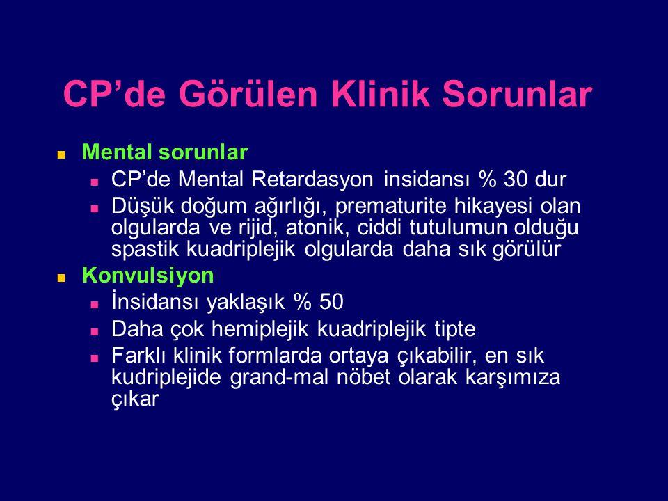 CP'de Görülen Klinik Sorunlar Mental sorunlar CP'de Mental Retardasyon insidansı % 30 dur Düşük doğum ağırlığı, prematurite hikayesi olan olgularda ve