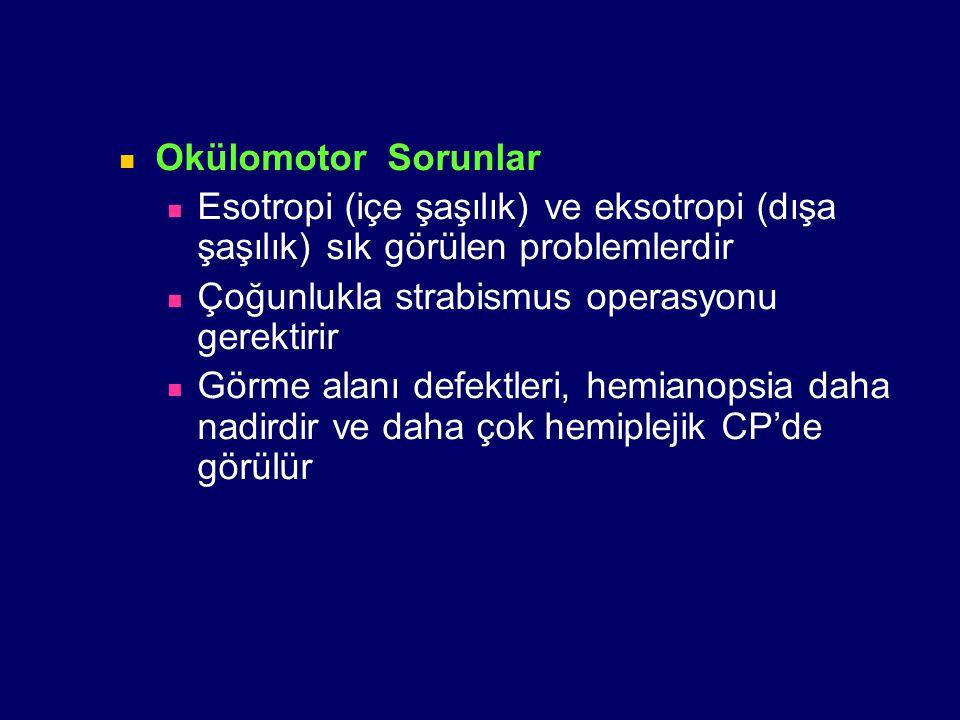 Okülomotor Sorunlar Esotropi (içe şaşılık) ve eksotropi (dışa şaşılık) sık görülen problemlerdir Çoğunlukla strabismus operasyonu gerektirir Görme ala