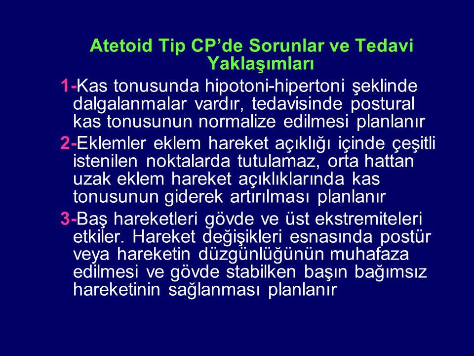 Atetoid Tip CP'de Sorunlar ve Tedavi Yaklaşımları 1-Kas tonusunda hipotoni-hipertoni şeklinde dalgalanmalar vardır, tedavisinde postural kas tonusunun