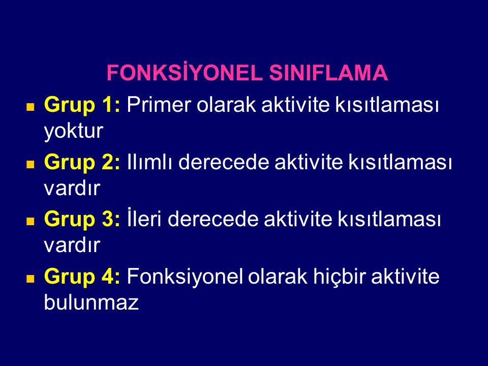 FONKSİYONEL SINIFLAMA Grup 1: Primer olarak aktivite kısıtlaması yoktur Grup 2: Ilımlı derecede aktivite kısıtlaması vardır Grup 3: İleri derecede akt