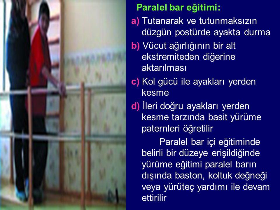 Paralel bar eğitimi: a) Tutanarak ve tutunmaksızın düzgün postürde ayakta durma b) Vücut ağırlığının bir alt ekstremiteden diğerine aktarılması c) Kol