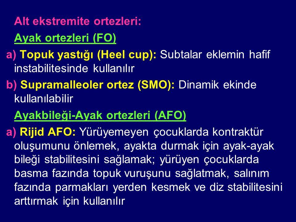 Alt ekstremite ortezleri: Ayak ortezleri (FO) a) Topuk yastığı (Heel cup): Subtalar eklemin hafif instabilitesinde kullanılır b) Supramalleoler ortez