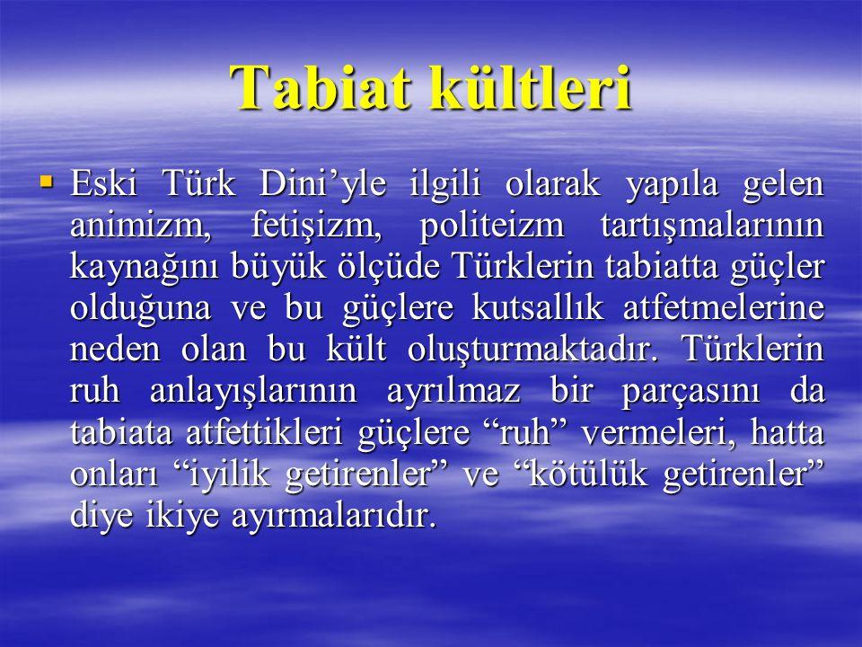 Tabiat kültleri  Eski Türk Dini'yle ilgili olarak yapıla gelen animizm, fetişizm, politeizm tartışmalarının kaynağını büyük ölçüde Türklerin tabiatta