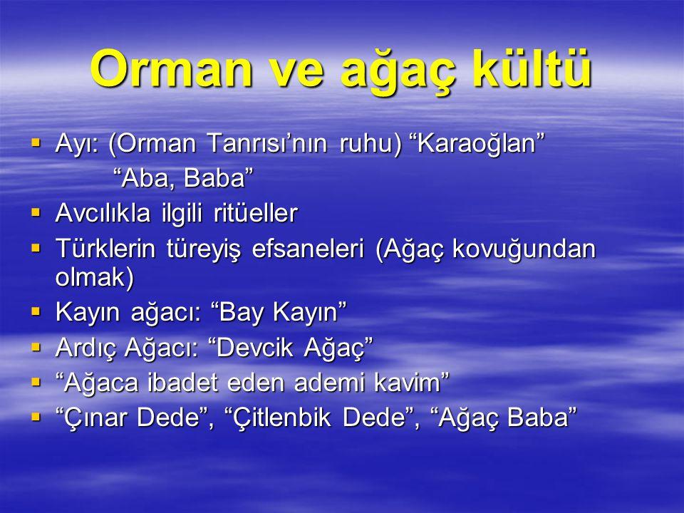 """Orman ve ağaç kültü  Ayı: (Orman Tanrısı'nın ruhu) """"Karaoğlan"""" """"Aba, Baba"""" """"Aba, Baba""""  Avcılıkla ilgili ritüeller  Türklerin türeyiş efsaneleri (A"""
