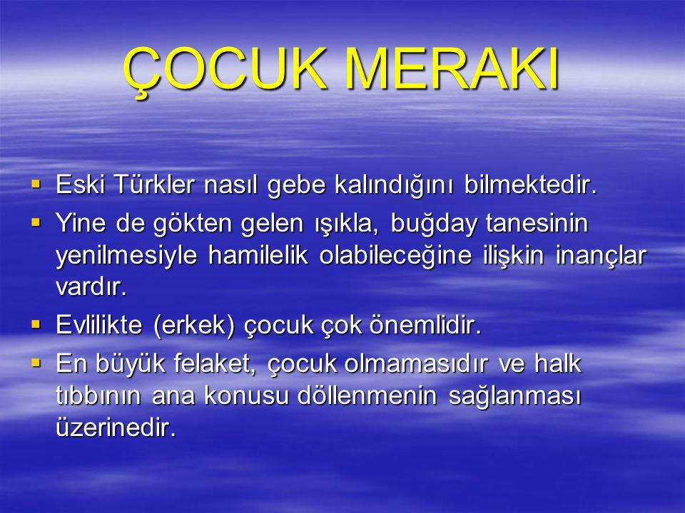 ÇOCUK MERAKI  Eski Türkler nasıl gebe kalındığını bilmektedir.  Yine de gökten gelen ışıkla, buğday tanesinin yenilmesiyle hamilelik olabileceğine i