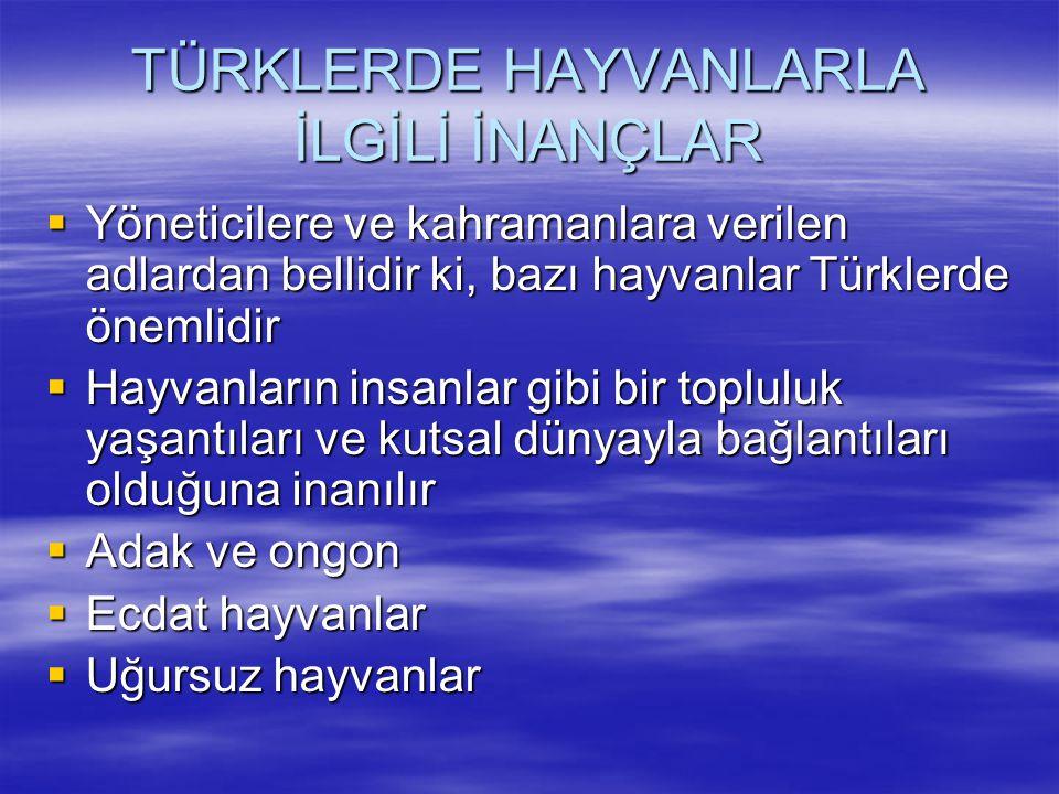 TÜRKLERDE HAYVANLARLA İLGİLİ İNANÇLAR  Yöneticilere ve kahramanlara verilen adlardan bellidir ki, bazı hayvanlar Türklerde önemlidir  Hayvanların in