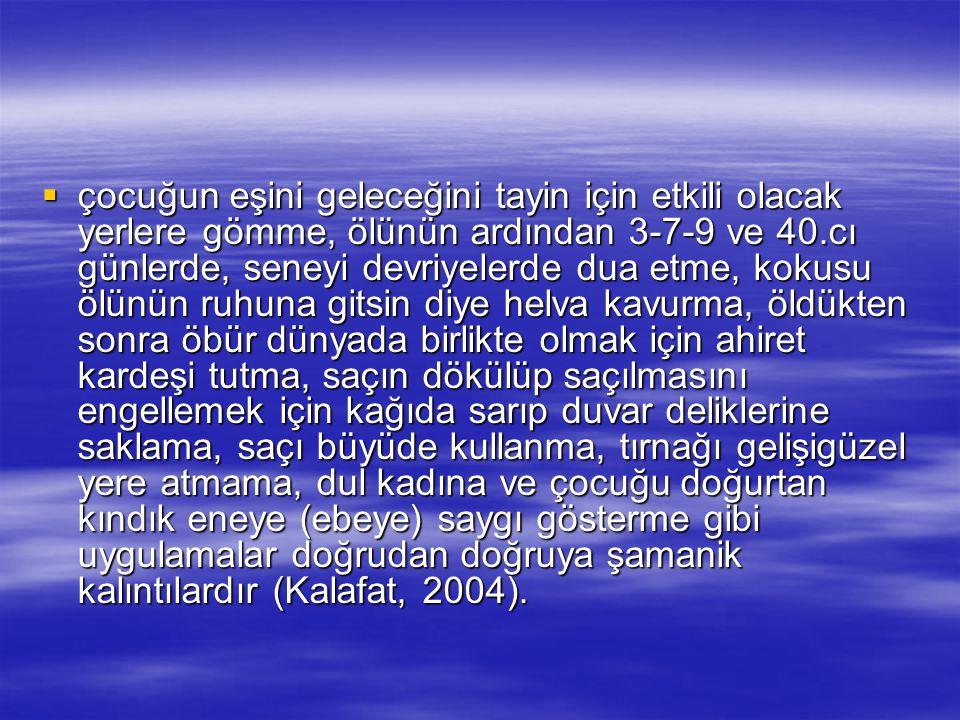  çocuğun eşini geleceğini tayin için etkili olacak yerlere gömme, ölünün ardından 3-7-9 ve 40.cı günlerde, seneyi devriyelerde dua etme, kokusu ölünü