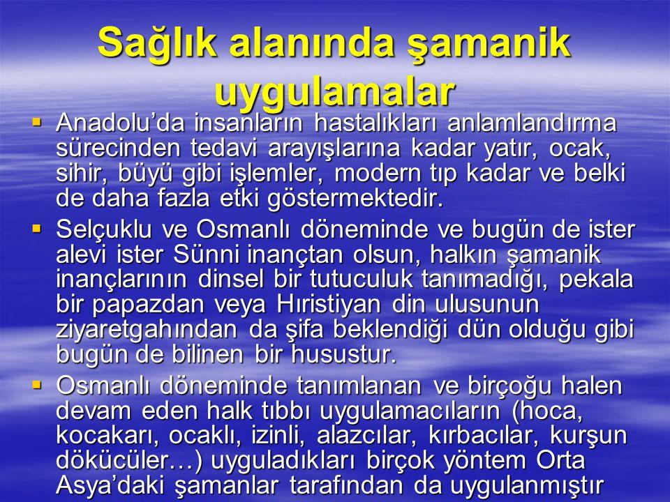Sağlık alanında şamanik uygulamalar  Anadolu'da insanların hastalıkları anlamlandırma sürecinden tedavi arayışlarına kadar yatır, ocak, sihir, büyü g