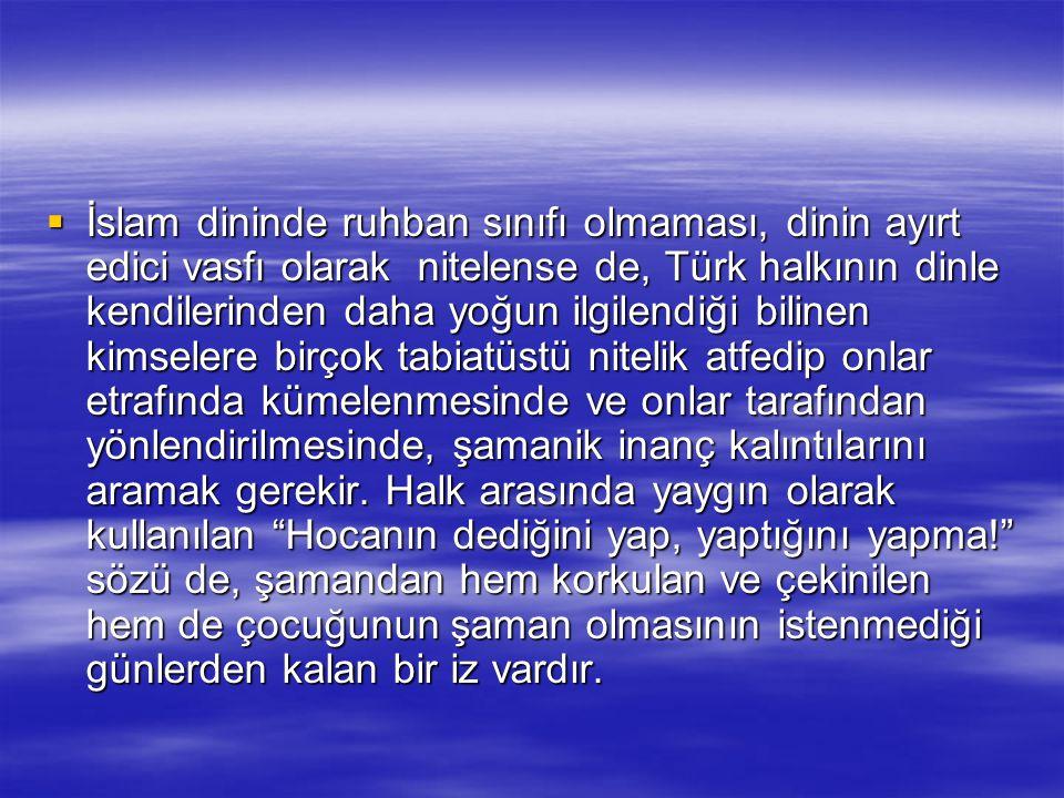  İslam dininde ruhban sınıfı olmaması, dinin ayırt edici vasfı olarak nitelense de, Türk halkının dinle kendilerinden daha yoğun ilgilendiği bilinen