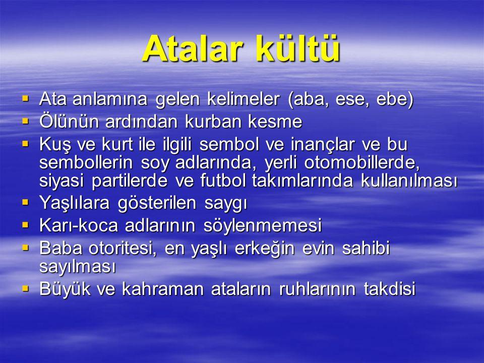 Tabiat kültleri  Eski Türk Dini'yle ilgili olarak yapıla gelen animizm, fetişizm, politeizm tartışmalarının kaynağını büyük ölçüde Türklerin tabiatta güçler olduğuna ve bu güçlere kutsallık atfetmelerine neden olan bu kült oluşturmaktadır.