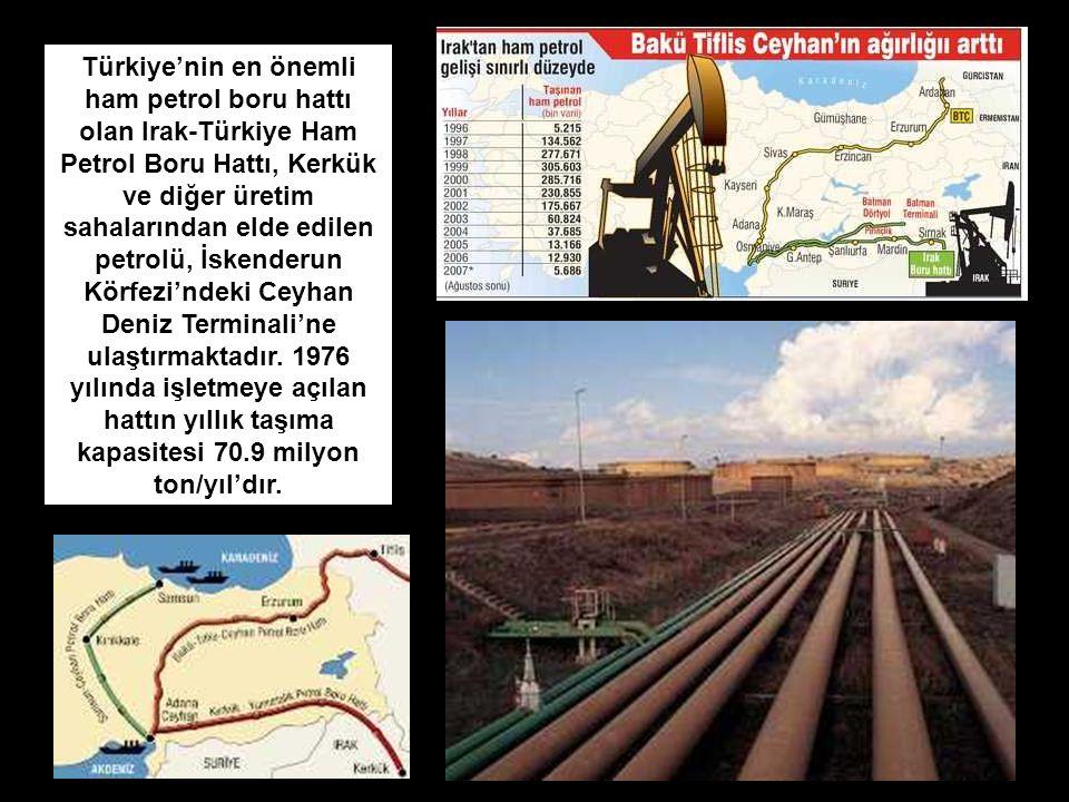 Türkiye'nin en önemli ham petrol boru hattı olan Irak-Türkiye Ham Petrol Boru Hattı, Kerkük ve diğer üretim sahalarından elde edilen petrolü, İskender