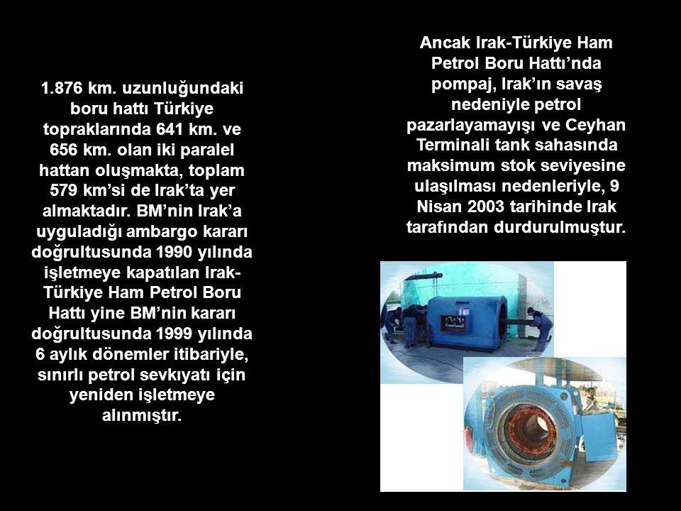 1.876 km. uzunluğundaki boru hattı Türkiye topraklarında 641 km. ve 656 km. olan iki paralel hattan oluşmakta, toplam 579 km'si de Irak'ta yer almakta
