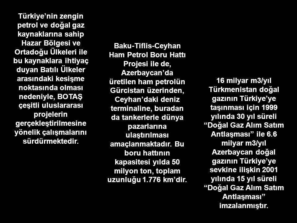 Türkiye'nin zengin petrol ve doğal gaz kaynaklarına sahip Hazar Bölgesi ve Ortadoğu Ülkeleri ile bu kaynaklara ihtiyaç duyan Batılı Ülkeler arasındaki