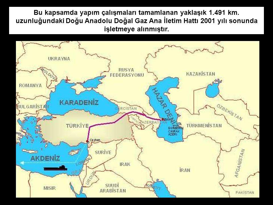 Bu kapsamda yapım çalışmaları tamamlanan yaklaşık 1.491 km. uzunluğundaki Doğu Anadolu Doğal Gaz Ana İletim Hattı 2001 yılı sonunda işletmeye alınmışt