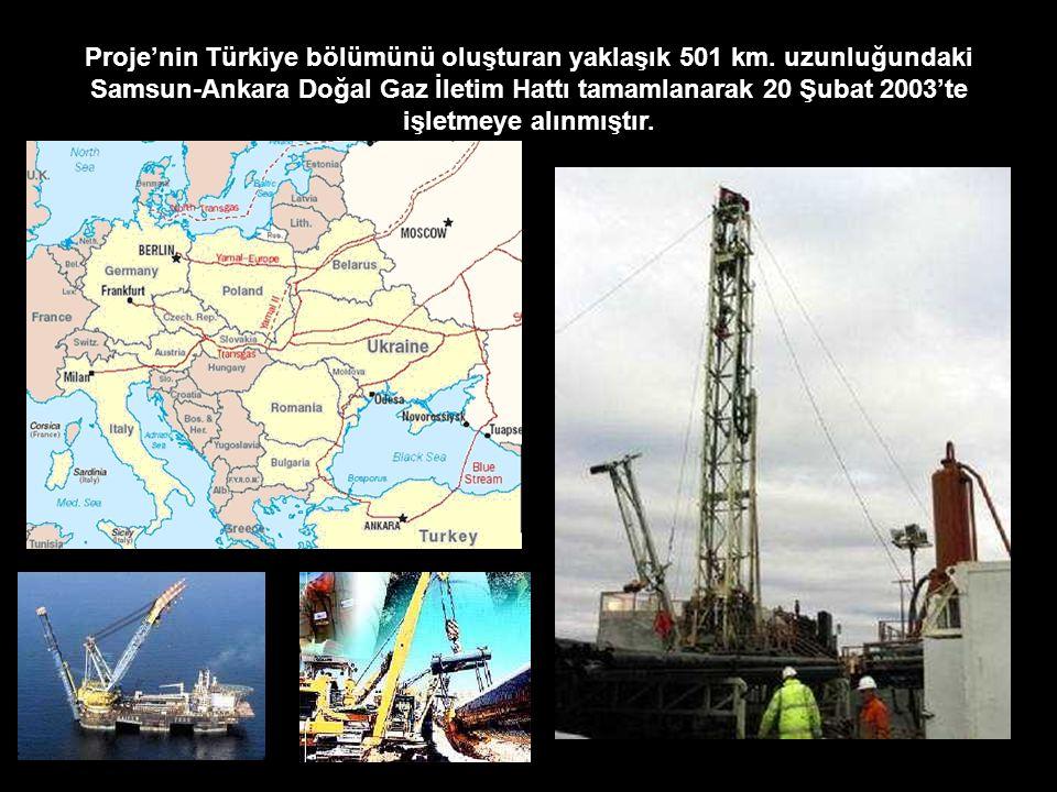 Proje'nin Türkiye bölümünü oluşturan yaklaşık 501 km. uzunluğundaki Samsun-Ankara Doğal Gaz İletim Hattı tamamlanarak 20 Şubat 2003'te işletmeye alınm