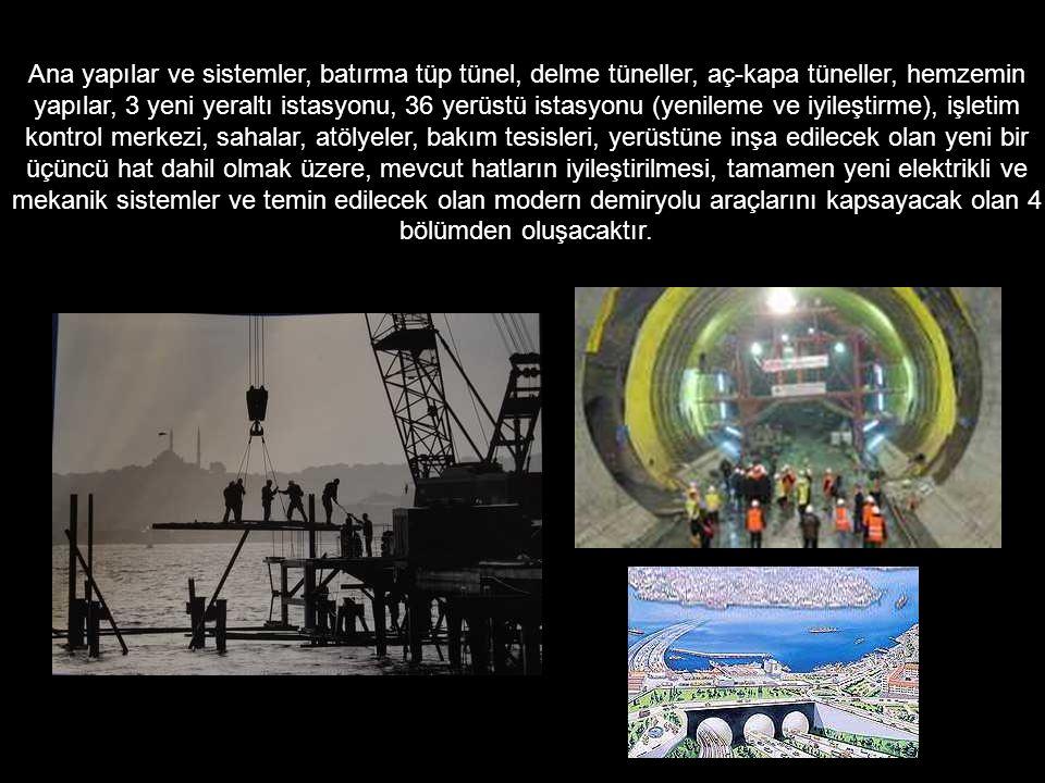 Ana yapılar ve sistemler, batırma tüp tünel, delme tüneller, aç-kapa tüneller, hemzemin yapılar, 3 yeni yeraltı istasyonu, 36 yerüstü istasyonu (yenil