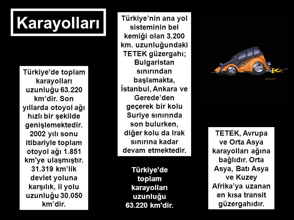 Karayolları Türkiye'de toplam karayolları uzunluğu 63.220 km'dir. Son yıllarda otoyol ağı hızlı bir şekilde genişlemektedir. 2002 yılı sonu itibariyle