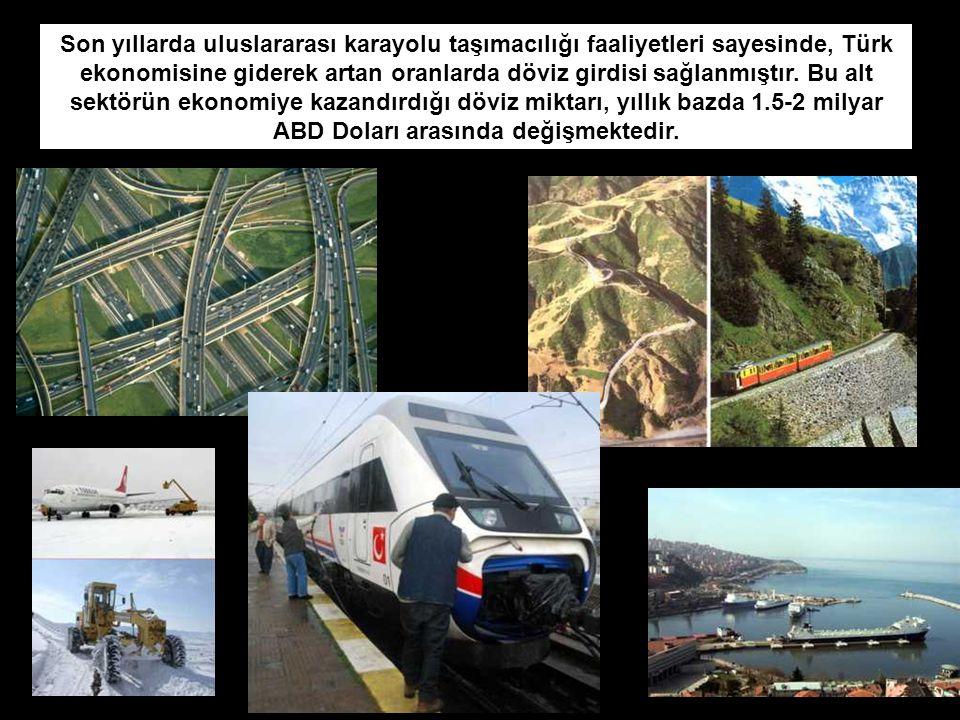 Son yıllarda uluslararası karayolu taşımacılığı faaliyetleri sayesinde, Türk ekonomisine giderek artan oranlarda döviz girdisi sağlanmıştır. Bu alt se