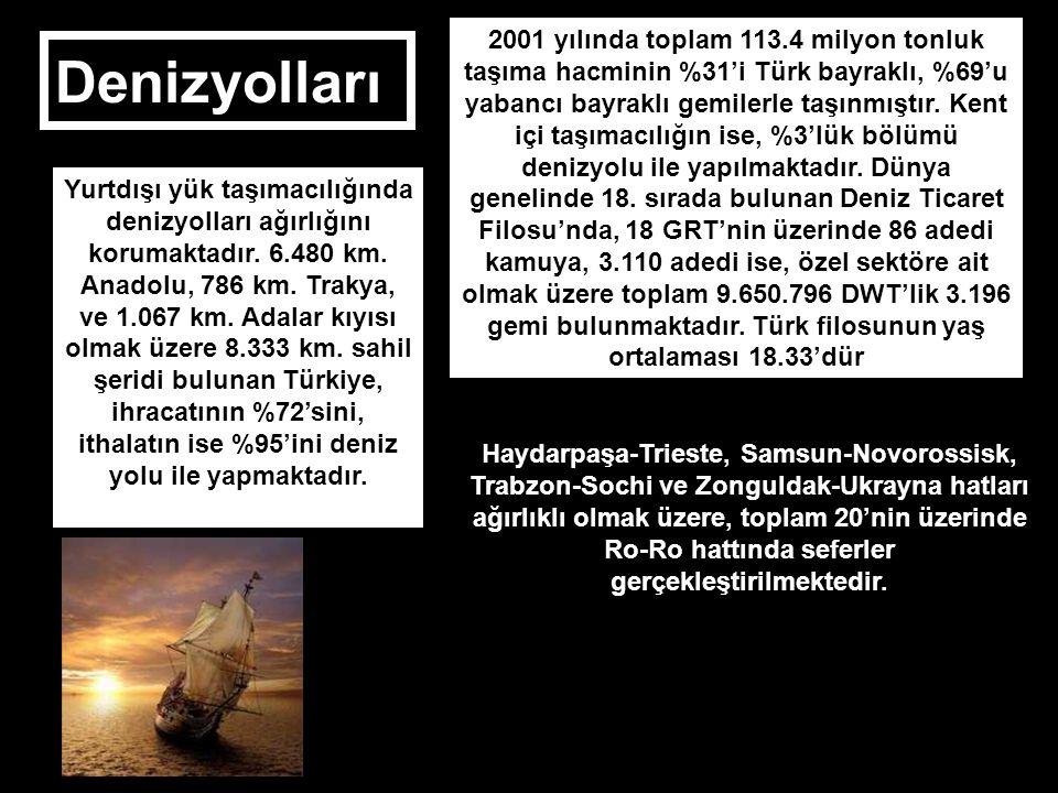 Denizyolları Yurtdışı yük taşımacılığında denizyolları ağırlığını korumaktadır. 6.480 km. Anadolu, 786 km. Trakya, ve 1.067 km. Adalar kıyısı olmak üz