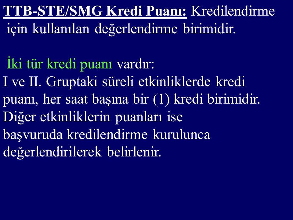 TTB-STE/SMG Kredi Puanı: Kredilendirme için kullanılan değerlendirme birimidir.